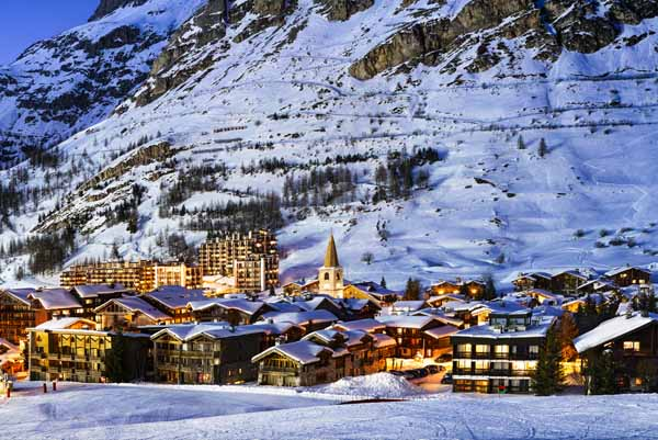 View of the Val D'Isère at sunset