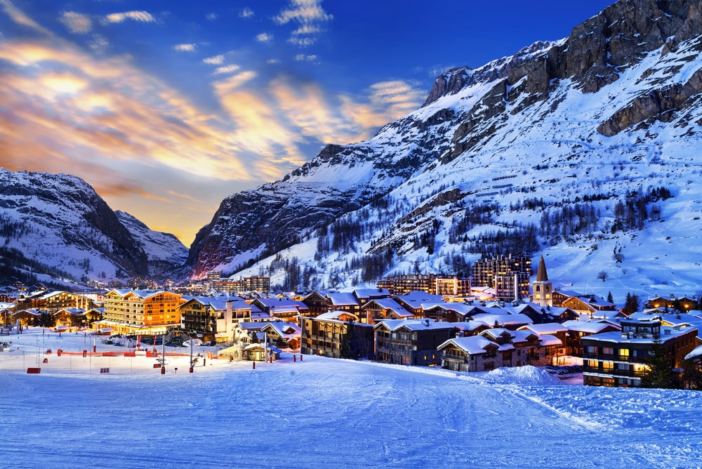 View of the Val d'Isere, Savoie, France