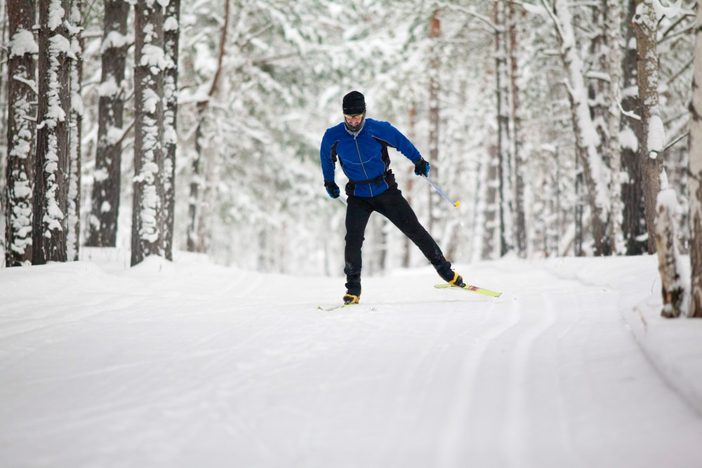 A skiier practices Nordic skiing